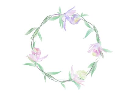 A banner vectors of Watercolor flowers and green leafs on the circle crownd with branch and rope, beautiful floral frame banner on white background, element design for decoration Ilustrace