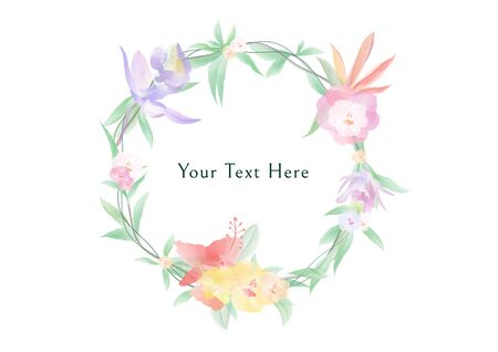 A colorful Watercolor flowers and green leafs on the circle crownd with branch and rope, beautiful floral frame banner vectors on white background, element design for decoration