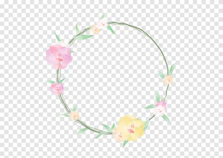 A Watercolor flowers and green leafs on the circle crownd with branch and rope, beautiful floral frame banner vectors on transparency background, element design