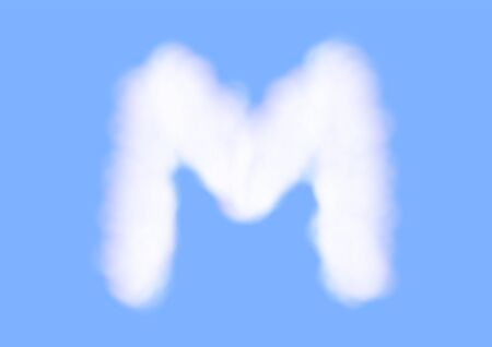 Consonant realistic white cloud vectors on blue sky background, Beautiful air cloud typeface, Typography of the capital letter M as fluffy white like cotton wool  イラスト・ベクター素材