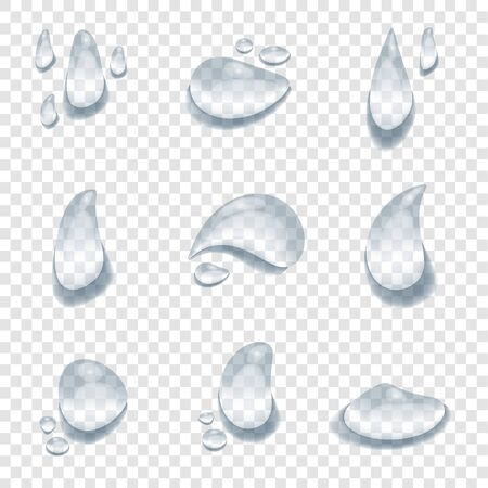 realistic water drop vectors on transparency background, element design banner, clear drop splash and rainy crystal illustration, Glass bubble drop condensation surface, element design clean drop