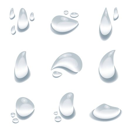 realistic water drop vectors on white background, element design banner, clear drop splash and rainy crystal illustration, Glass bubble drop condensation surface, element design clean drop