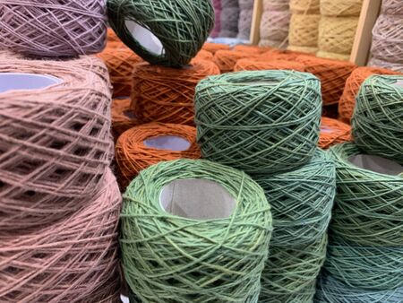 Pink and green crochet thread for weaving