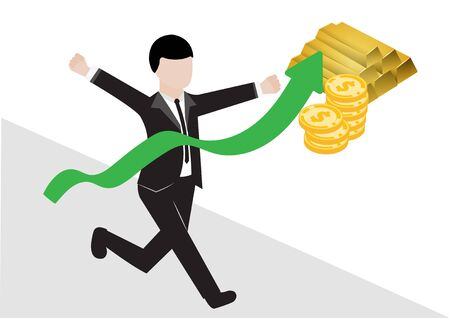 A business man in a black suit runs into the finish line vector and illustration, green graph is rising with the symbol of gold bars and gold coins reflecting success in business and make profit according to the goal Ilustrace