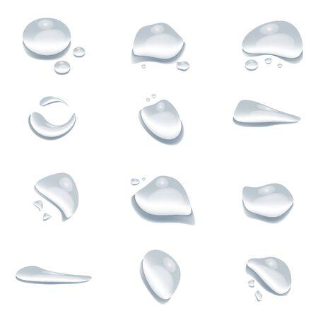 Diversa forma di gocce d'acqua vettore isolato su sfondo bianco, superficie di condensa a goccia di bolle di vetro, elemento di design pulito spruzzi di gocce di cristallo Vettoriali