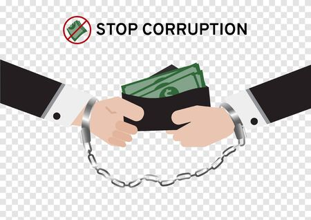 Both business man in suit are handcuffed while giving or paying money for corruption isolated on transparency background with the symbol stop receive money sign, Fraud Detection, election dealing campaign design