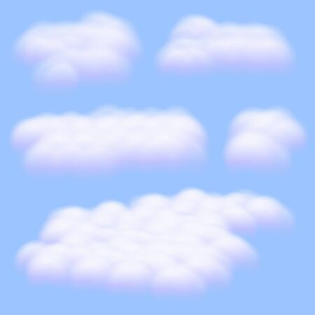 Five Virtual cumulus clouds vectors isolated on clear blue sky background, Realistic Fluffy cubes like white cotton wool