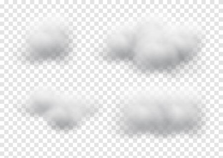 Virtual cloud vectors isolated on transparent background, Fluffy cubes like white cotton wool graphic design
