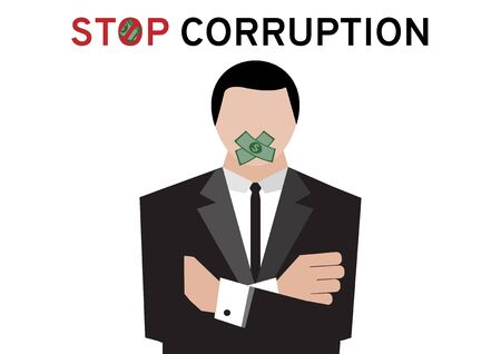 A man in black suit cross his arms while abstention by bribe money in election procedure on white background with the topic stop corruption for election campaign by vector and illustration design Banque d'images - 131933149
