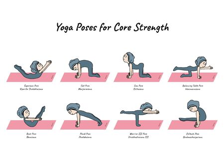 Gohan cartoon character with yoga poses for core strength on pink mat designed, vector and illustration