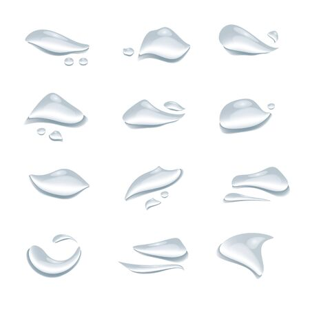 Different shape of water drops or droplet vector isolated on white background, Glass bubble drop condensation elements