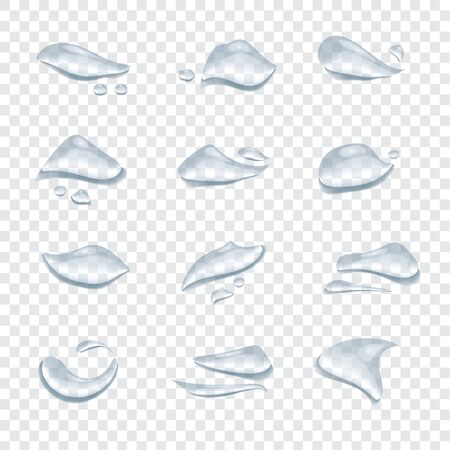 Different shape of water drops vector isolated on transparent background, Glass bubble drop condensation surface, element design clean crystal drop splash