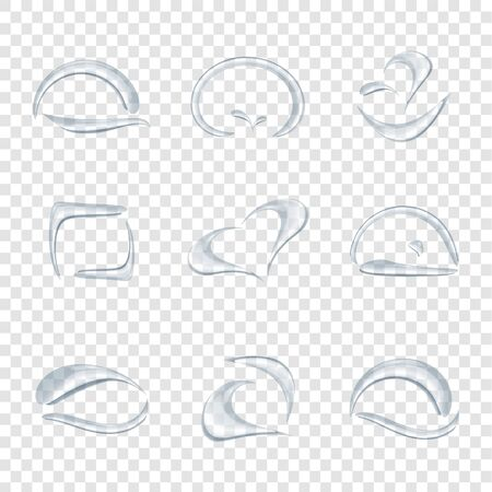 Different shape of water drops or droplet vector isolated on transparency background, Glass bubble drop condensation elements