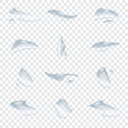 Different shape of water drops or droplet vector isolated on transparency background and elements design