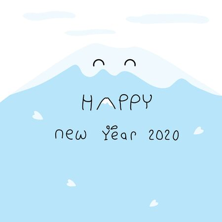 simple line hand drawn happy new year 2020 card with cute mountain view on blue shade background Ilustração