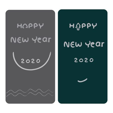 simple happy new year 2020 card with cute typography vector design Ilustração