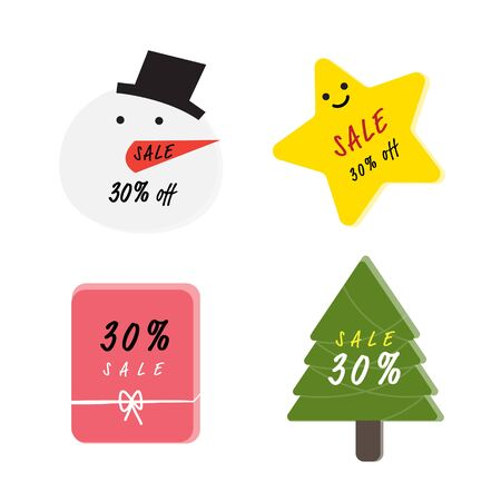 Merry Christmas and Happy new year theme banner and discount tag sale banner like snowman, tree, present and element design for shopping time festival background decoration Stock Illustratie