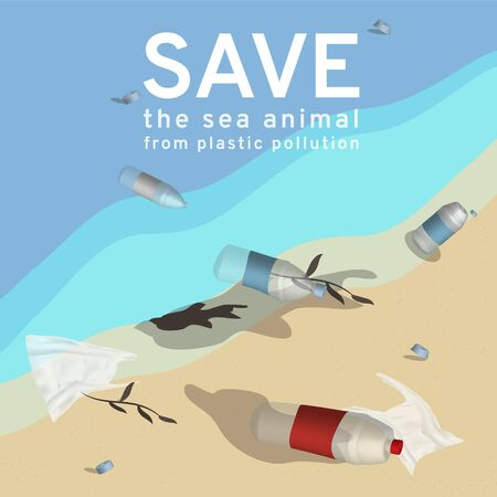 An illustration reflects to current environmental problems of the plastic garbage, sea animals die from water pollution, solve global warming Campaign vector to say no for Single-use plastics and bottles