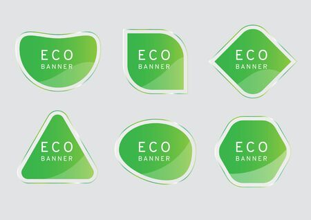 green clear crystal banner on gray background, eco tag vectors, elegant glossy element design