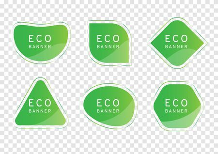 green clear crystal banner on transparency background, eco tag vectors, elegant glossy element design