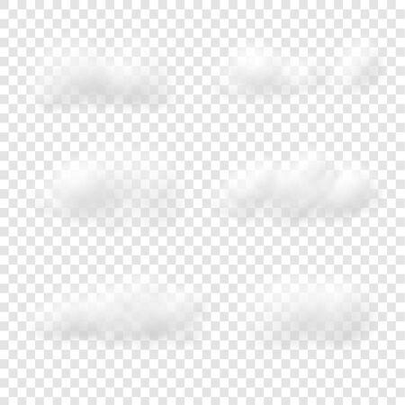Realistyczne białe wektory chmur na przezroczystym tle, puszyste kostki jak biała wata