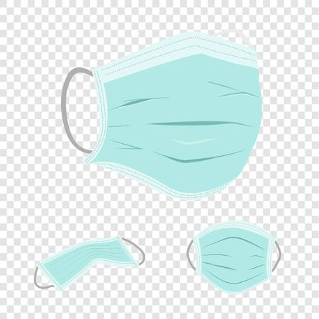 realistic hygienic mask vectors for particulate respirator and filter on transparency background