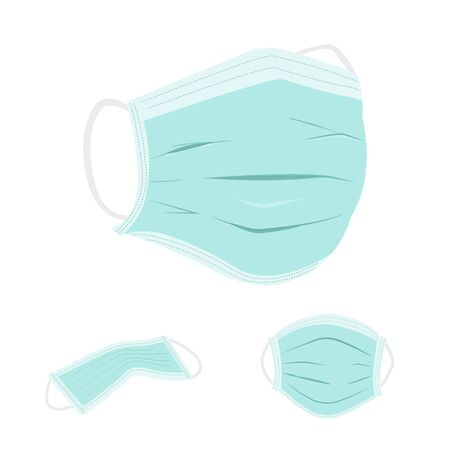 realistic hygienic mask vectors for particulate respirator and filter on white background