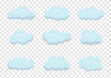 clouds vectors on transparency background, cloud illustration element flat design for banner
