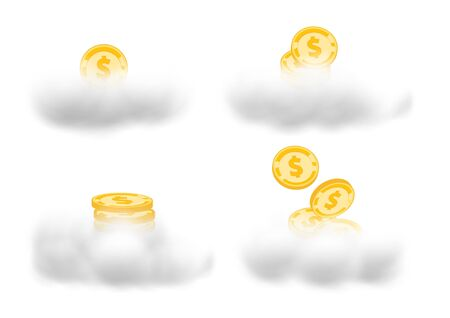 A set of gold medal coins above the clouds vectors isolated on white background to represents your business growth Ilustracja