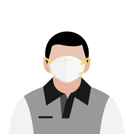 A man in T shirt wear hygienic white mask to protect virus infection and dust pollution vectors isolate on white background