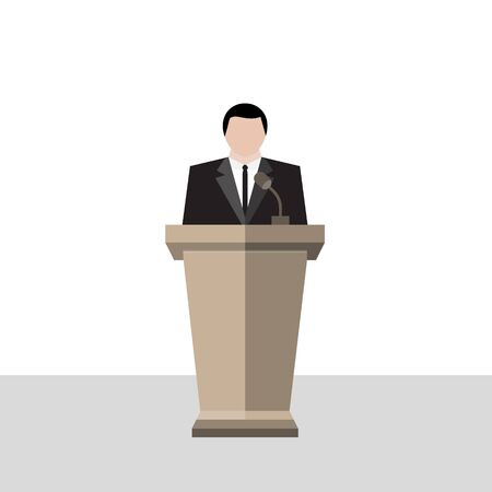 Business conference vectors, politic meeting illustration, A man on podium to public speech speaker