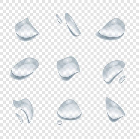 realistic waterdrop vectors isolated on transparency background, clear drop splash and rainy crystal illustration ep26 Illustration