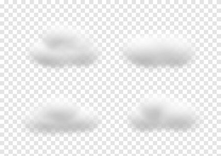 Realistic white cloud vectors isolated on transparency background, Fluffy cubes like white cotton wool, cloudy ep34
