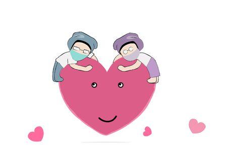 couple Gohan cartoon character keep social distancing on heart balloon vector in Coronavirus or Covid19 era