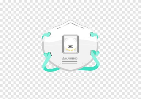 N95 medical or surgical mask vectors for filter dust and antivirus isolated on transparency background Çizim