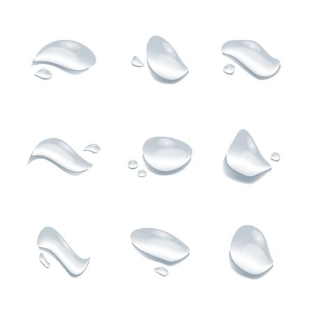 realistic water drop vectors isolated on white background, clear drop splash and rainy crystal illustration ep29