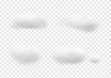 Realistic white cloud vectors isolated on transparency background, Fluffy cubes like white cotton wool, cloudy ep36