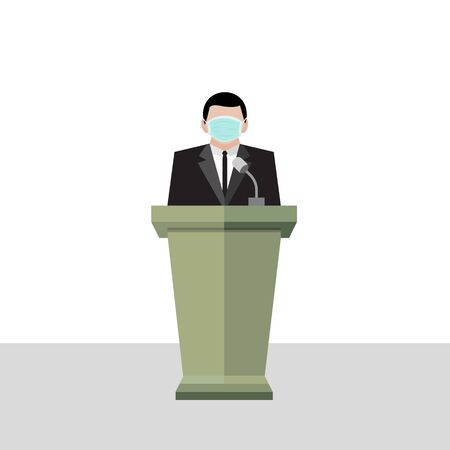 A business man wear hygienic green mask stand on the podium, healthcare vector isolated on white background Çizim