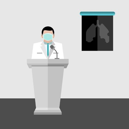 A doctor wear hygienic green mask stand on the podium to show the damage lung x-ray film in the meeting room