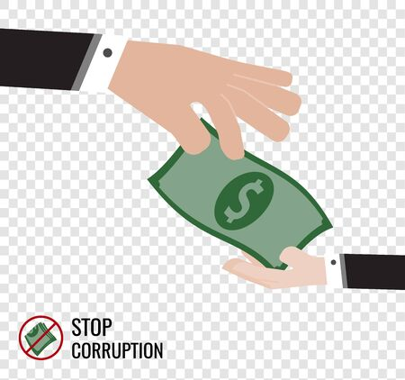 a big hand donate money to a small hand vector communicate to business revolution era on transparency background Çizim