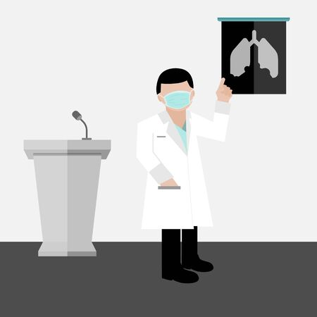 A doctor wear hygienic green mask is explaining lung infection with x-ray film vectors and illustration