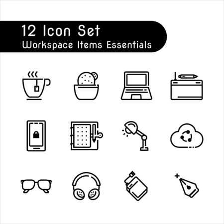 line icon set of items workspace essentials isolated on white background