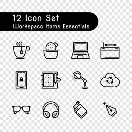 line icon set of items workspace essentials isolated on transparency background Çizim