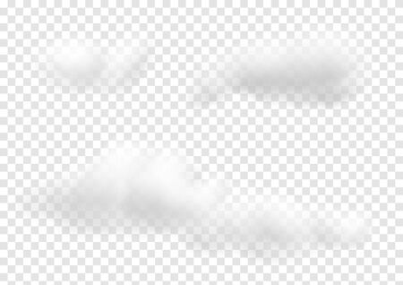 Realistic white cloud vectors isolated on transparency background, cotton wool ep37