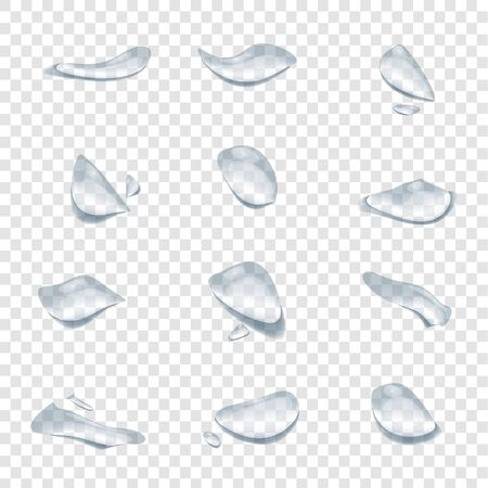 realistic water drop vectors isolated on transparency background, clear drop splash and rainy crystal illustration ep30 Çizim