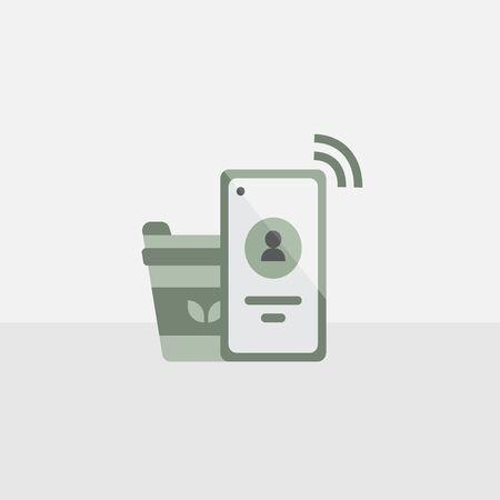 mobile phone and a hot green tea cup symbol vectors Çizim