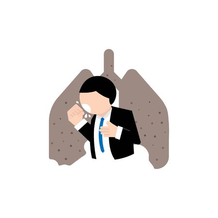 A business man cough with lung disease vector and illustration
