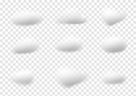 Realistic white cloud vectors isolated on transparency background ep39 Çizim