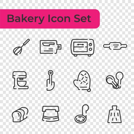 Line Icon set of bakery tool, device for making desserts isolated on transparency background