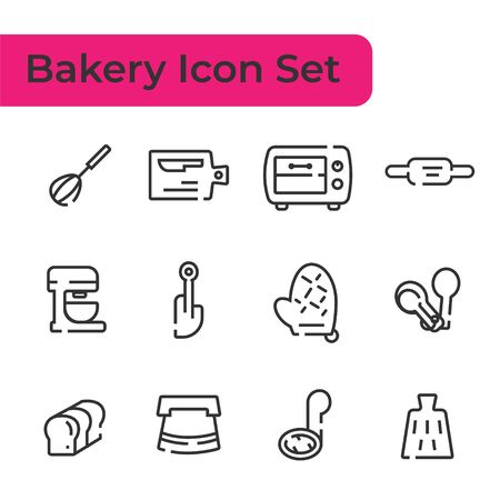 Line Icon set of bakery tool, device for making desserts isolated on white background Çizim